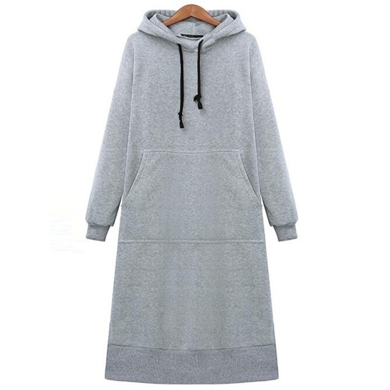Women Loose Long Hoodie Autumn Winter Baggy Pullover Oversized Sweatshirt Dress Casual Solid Color Hooded Sweatshirts Student's
