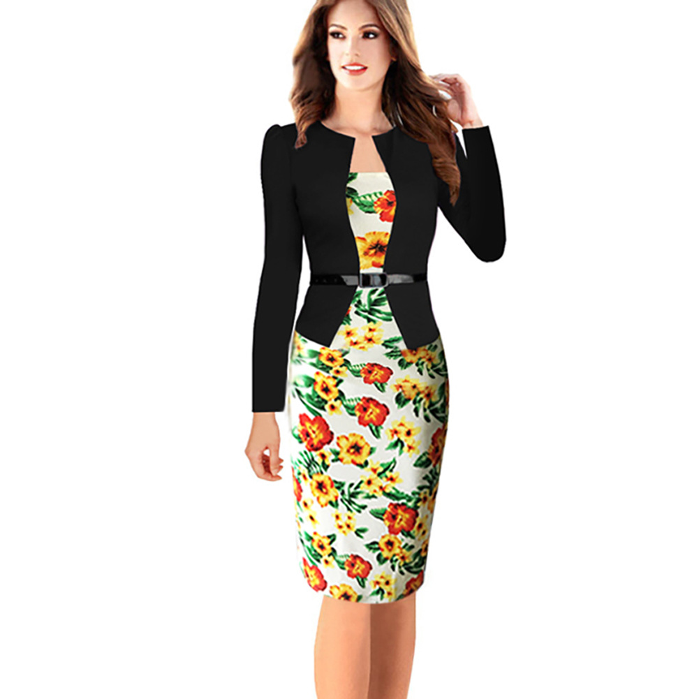 ad55b6a9a81 Womens Elegant Long Sleeve Floral Printed Faux Jacket One-Piece Belted  Patchwork Work Business Pencil Sheath Bodycon Dress yellow Color