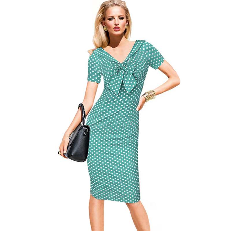4092a20eb9 Vintage Polka Dots Short Sleeve Slim Office Casual Women Summer Bow Sheath  Bodycon Pencil Dress green color