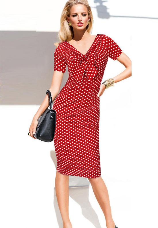 05d28bdba212 Vintage Polka Dots Short Sleeve Slim Office Casual Women Summer Bow Sheath  Bodycon Pencil Dress red color