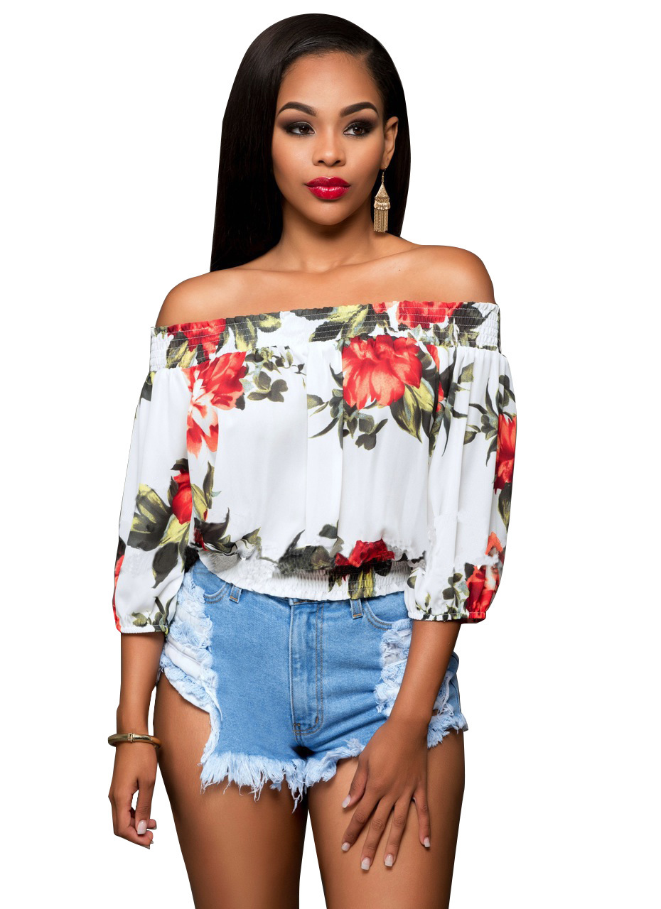 5e4756c182ea47 White Floral Print Off-The-Shoulder Cuffed-Sleeved Blouse on Luulla