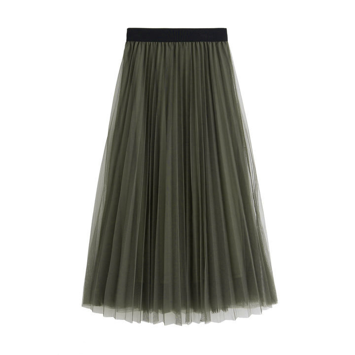 Women Tulle Skirts Elastic High Waist Lady Long Skirt Womens Tutu Maxi Pleated Skirt 85cm army green Color