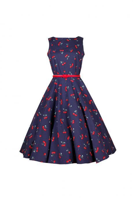 Women's Audrey Hepburn Retro Dress Vintage 50s 60s Floral Printed Belted Sleeveless Rockabilly Swing Casual Dresses 10#