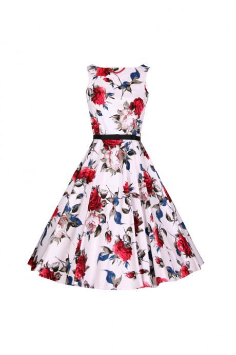 Women's Audrey Hepburn Retro Dress Vintage 50s 60s Floral Printed Belted Sleeveless Rockabilly Swing Casual Dresses 19#