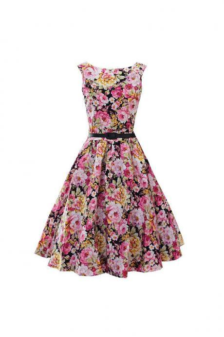 Women's Audrey Hepburn Retro Dress Vintage 50s 60s Floral Printed Belted Sleeveless Rockabilly Swing Casual Dresses 20#