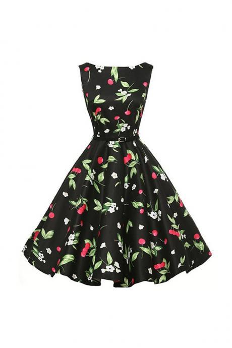 Women's Audrey Hepburn Retro Dress Vintage 50s 60s Floral Printed Sleeveless Belted Rockabilly Swing Casual Dresses Vestidos 12#