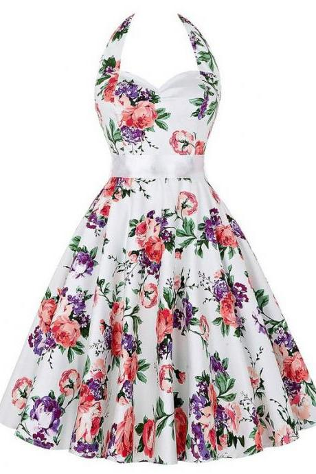 Vintage 50s 60s Swing A Line Dress Women Summer Halter Floral Printed Retro Casual Dress 7#