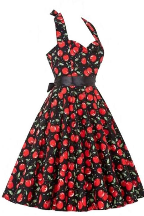 Vintage 50s 60s Swing A Line Dress Women Summer Halter Floral Printed Retro Casual Dress 11#