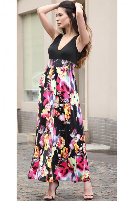 2017 Summer Women Sexy V Neck Sleeveless Long Maxi Dress Floral Print Vintage Party Bohemian Dress Hot Pink color