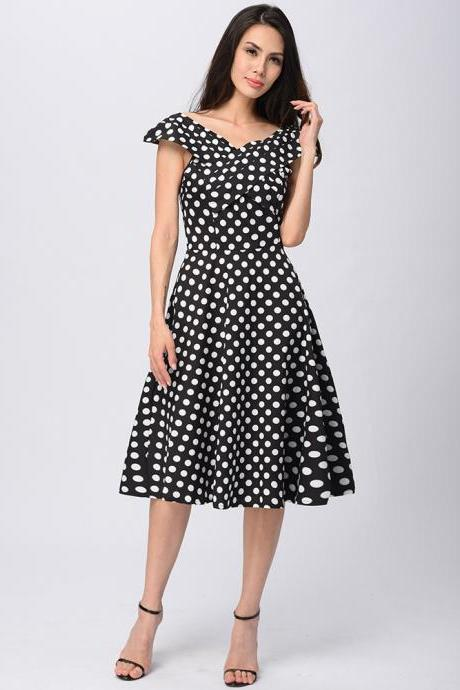 Womens Retro V-Neck Polka Dot Dress Vintage Cap Sleeve 50s Pin Up Rockabilly Swing Casual Dress black Color