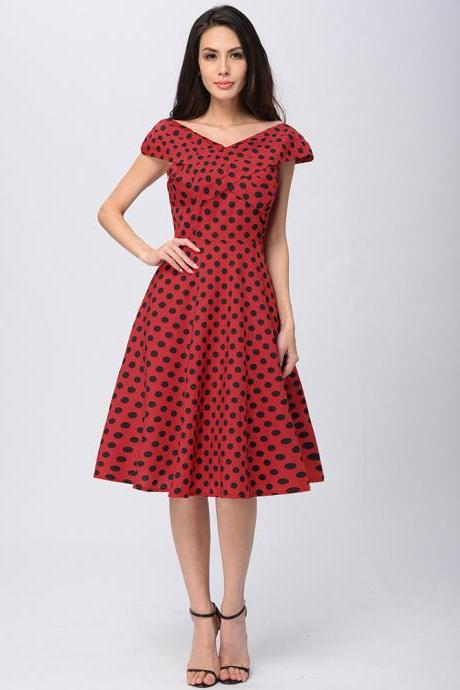 Womens Retro V-Neck Polka Dot Dress Vintage Cap Sleeve 50s Pin Up Rockabilly Swing Casual Dress red Color