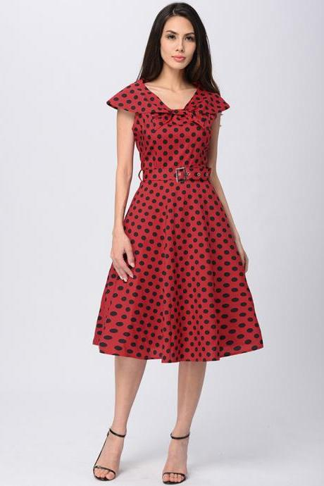 Elegant Women Cap Sleeve Polka Dot Vintage 50s Dress Bow Neck Belted Swing Casual Dress red Color