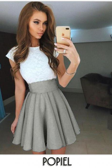 Light Grey High Rise Short Ruffled Skater Skirt