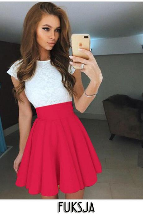 Red Elasticised High Rise Short Ruffled Skater Skirt