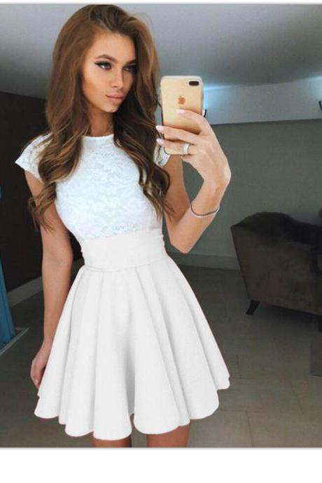 Summer Mini A Line Girls Skirt Women Elastic High Waist Short Skater Skirt Women Clothing Bottoms white