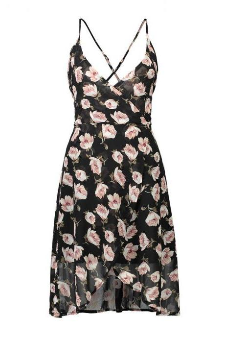 Back Floral Print Plunge V Spaghetti Strap Short Wrap Dress Featuring Criss-Cross Open Back