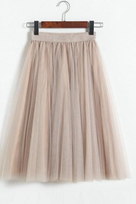 3 Layers Tulle Tutu Skirt Women Summer Pleated Midi Skirt High Waist Petticoat Under skirt beige