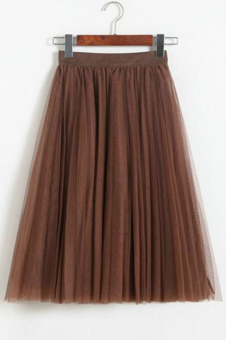 Brown Multilayered Tulle Elasticised High Rise A-Line Midi Skirt