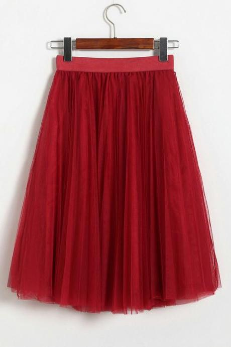 3 Layers Tulle Tutu Skirt Women Summer Pleated Midi Skirt High Waist Petticoat Under skirt dark red