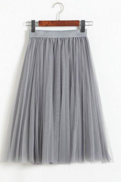 3 Layers Tulle Tutu Skirt Women Summer Pleated Midi Skirt High Waist Petticoat Under skirt gray
