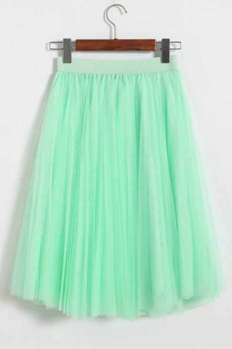 3 Layers Tulle Tutu Skirt Women Summer Pleated Midi Skirt High Waist Petticoat Under skirt light green