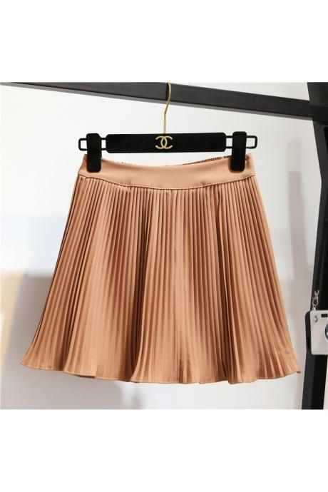 summer 2017 high waist ball mini pleated skirts a line skirt women shorts school uniform khaki