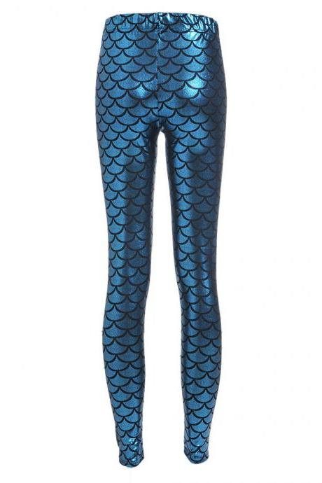 Fashion Silk Milk Fish Scale Print Mermaid Leggings Women Stretch Ankle Length Trousers Seamless Shiny Casual Leggings blue