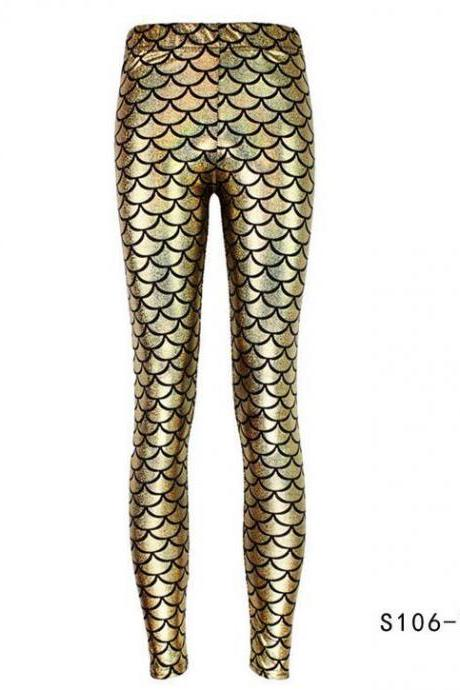 Fashion Silk Milk Fish Scale Print Mermaid Leggings Women Stretch Ankle Length Trousers Seamless Shiny Casual Leggings gold