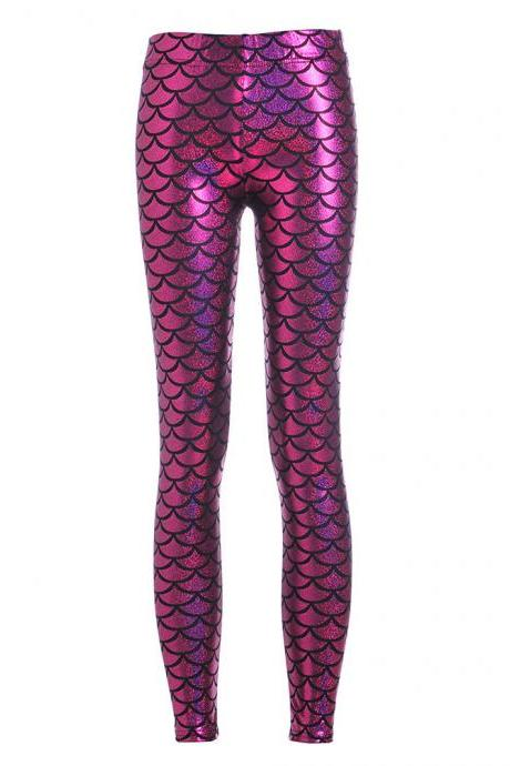 Fashion Silk Milk Fish Scale Print Mermaid Leggings Women Stretch Ankle Length Trousers Seamless Shiny Casual Leggings hot pink