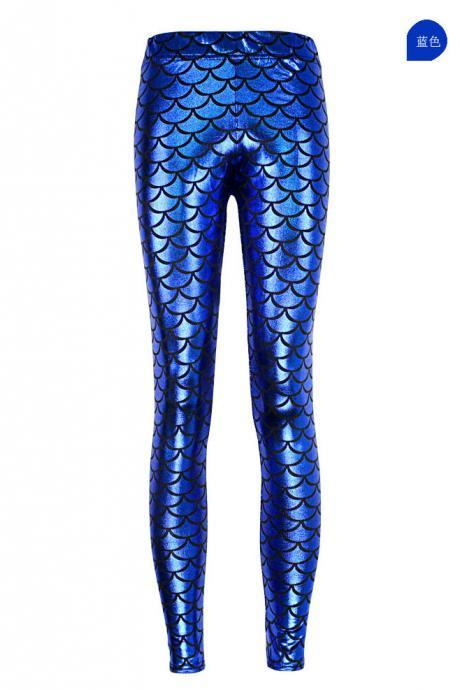 Fashion Silk Milk Fish Scale Print Mermaid Leggings Women Stretch Ankle Length Trousers Seamless Shiny Casual Leggings royal blue