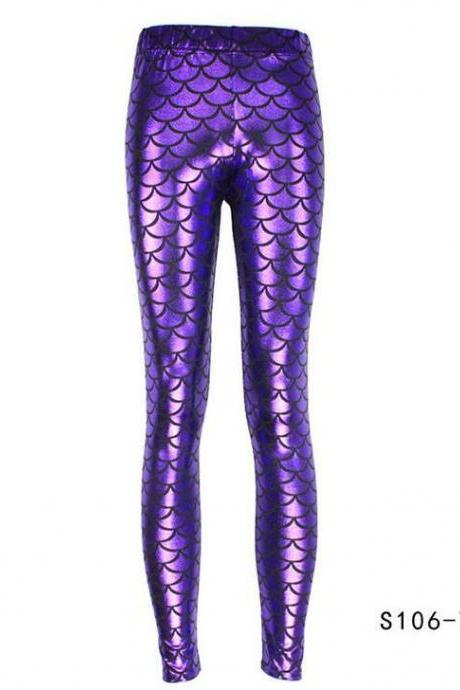 Fashion Silk Milk Fish Scale Print Mermaid Leggings Women Stretch Ankle Length Trousers Seamless Shiny Casual Leggings purple