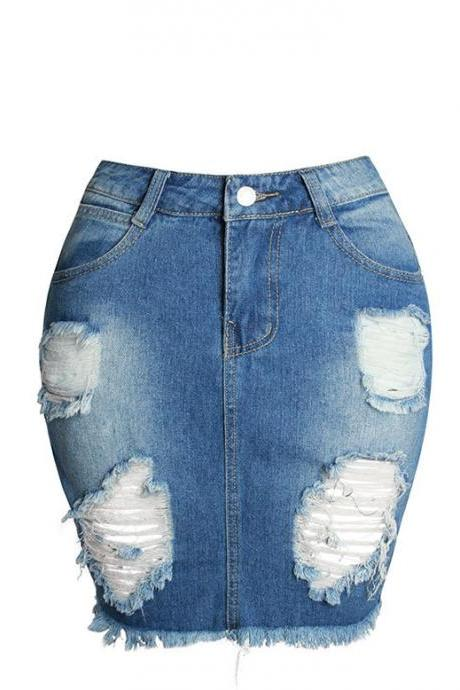 Girls Denim Skirt Women 2017 Summer Split High Waist Short Hole Jeans Skirt Asymmetric Sexy Jean Pencil Womens Skirt as pic