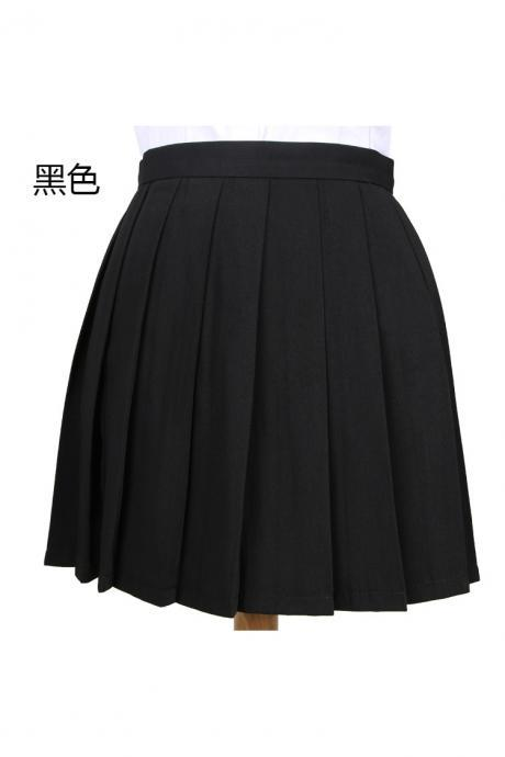 Girls High Waist Pleated Skirt Anime Cosplay School Uniform JK Student Girls Solid A Line Mini Skirt black