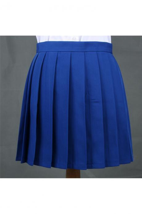 Girls High Waist Pleated Skirt Anime Cosplay School Uniform JK Student Girls Solid A Line Mini Skirt blue