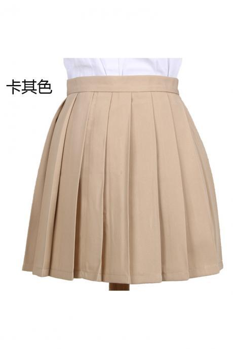 Girls High Waist Pleated Skirt Anime Cosplay School Uniform JK Student Girls Solid A Line Mini Skirt khaki