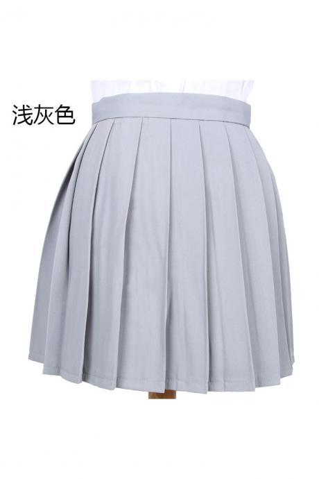 Girls High Waist Pleated Skirt Anime Cosplay School Uniform JK Student Girls Solid A Line Mini Skirt light gray