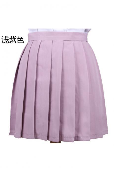 Girls High Waist Pleated Skirt Anime Cosplay School Uniform JK Student Girls Solid A Line Mini Skirt lilac