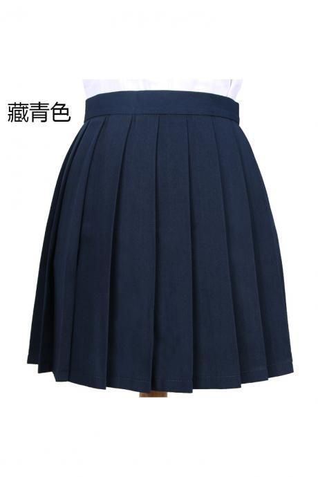 Girls High Waist Pleated Skirt Anime Cosplay School Uniform JK Student Girls Solid A Line Mini Skirt navy blue