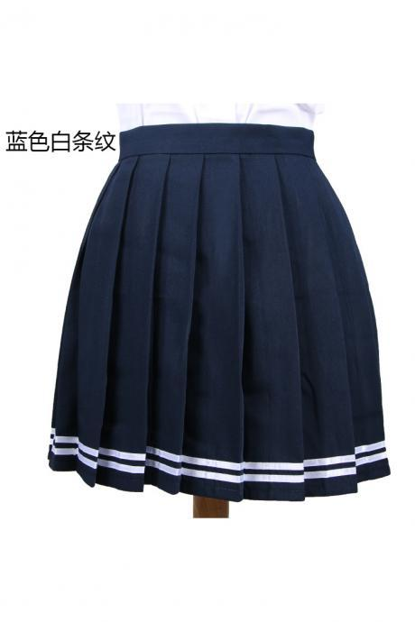 Girls High Waist Pleated Skirt Anime Cosplay School Uniform JK Student Girls Solid A Line Mini Skirt navy blue+white