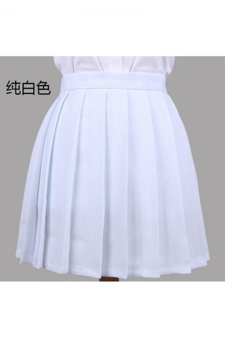 Girls High Waist Pleated Skirt Anime Cosplay School Uniform JK Student Girls Solid A Line Mini Skirt white