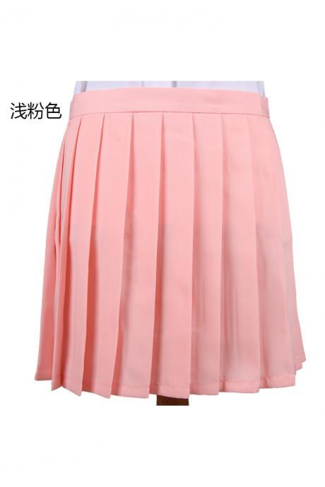 Girls High Waist Pleated Skirt Anime Cosplay School Uniform JK Student Girls Solid A Line Mini Skirt samlon pink