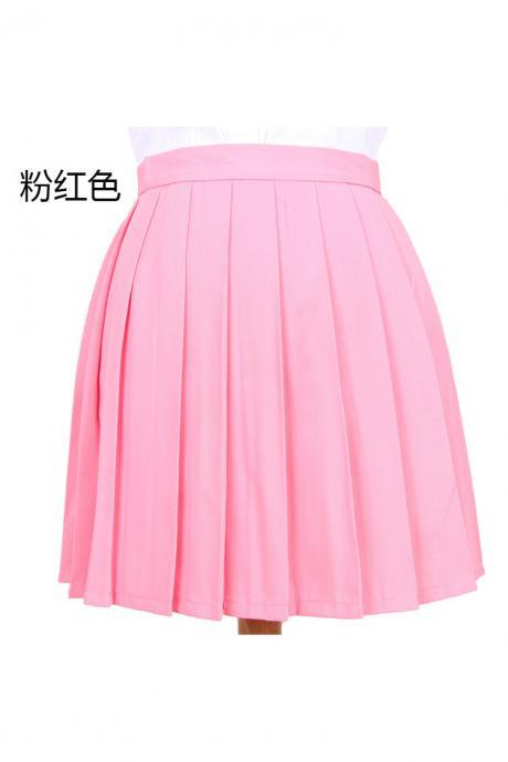 Girls High Waist Pleated Skirt Anime Cosplay School Uniform JK Student Girls Solid A Line Mini Skirt Pink