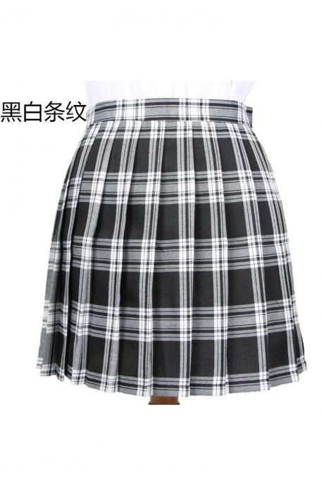 Harajuku 2017 Women Fashion Summer high waist pleated skirt Cosplay plaid skirt Girl A Line Mini Skirt black+white