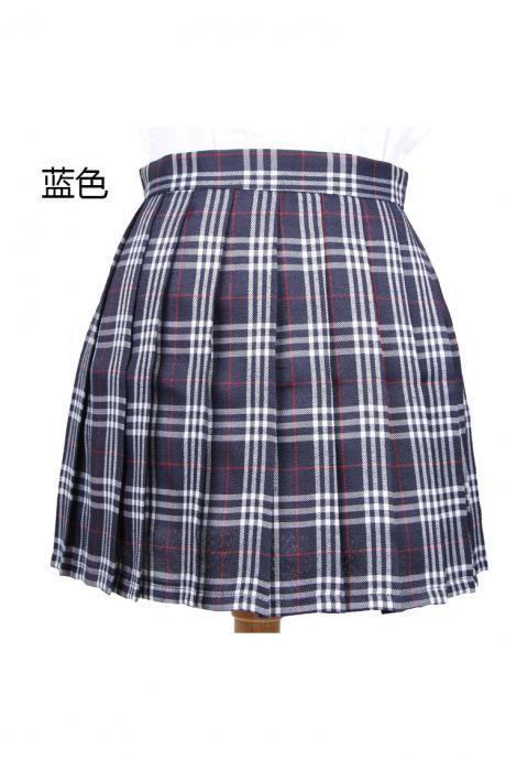 Harajuku 2017 Women Fashion Summer high waist pleated skirt Cosplay plaid skirt Girl A Line Mini Skirt dark blue