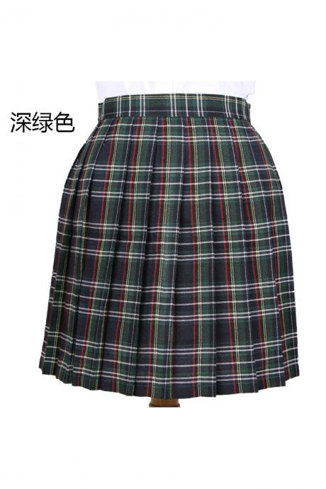 Harajuku 2017 Women Fashion Summer high waist pleated skirt Cosplay plaid skirt Girl A Line Mini Skirt dark green