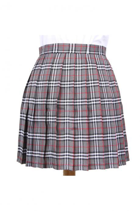 Harajuku 2017 Women Fashion Summer high waist pleated skirt Cosplay plaid skirt Girl A Line Mini Skirt gray+white
