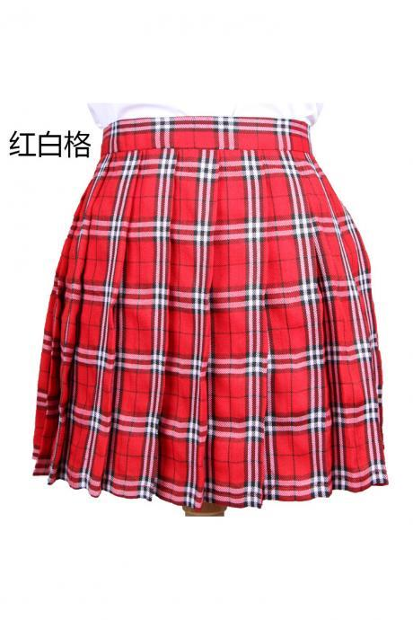 Harajuku 2017 Women Fashion Summer high waist pleated skirt Cosplay plaid skirt Girl A Line Mini Skirt red+white
