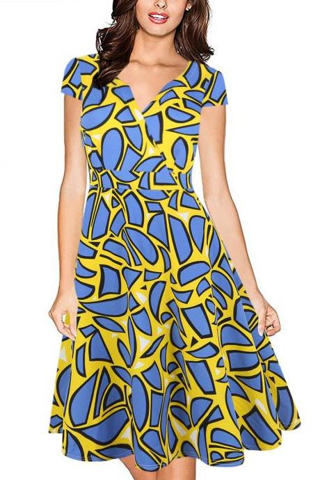 Floral Print V Neck Cap Sleeve 50s 60s Robe Retro Vintage Rockabilly Swing Pinup Dress Plus Size Women Dress yellow