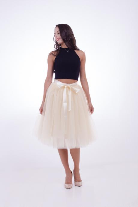 6 Layers Midi Tulle Skirts Womens Tutu Skirt Elegant Wedding Bridal Bridesmaid Skirt Lolita Under skirt Petticoat cream