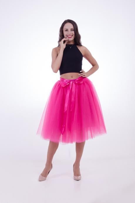 6 Layers Midi Tulle Skirts Womens Tutu Skirt Elegant Wedding Bridal Bridesmaid Skirt Lolita Underskirt Petticoat hot pink
